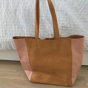 Neiman Marcus pink + tan shopper tote purse NEW